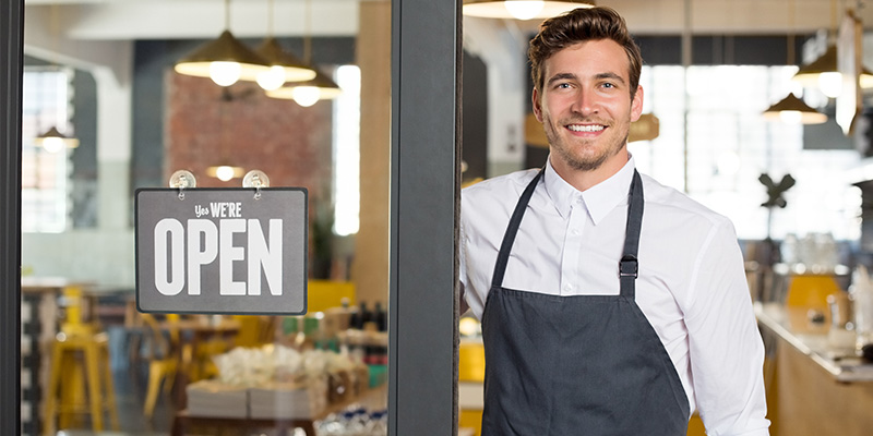 business owner opening business