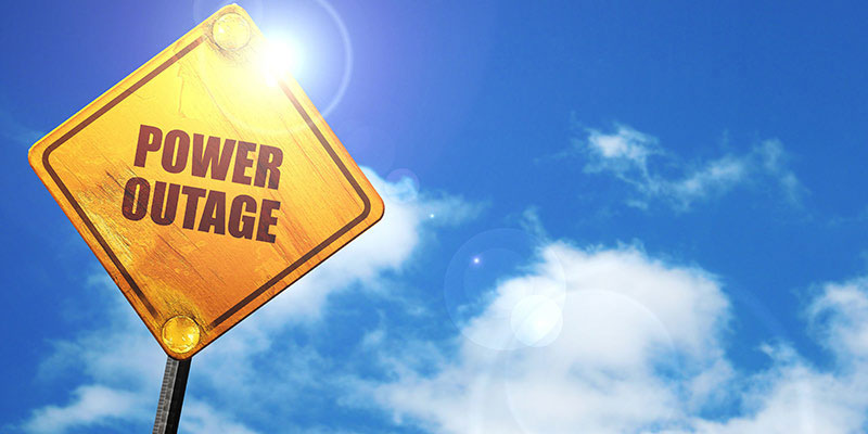 Power Outage street sign, learn how to prepare your business for unexpected weather conditions
