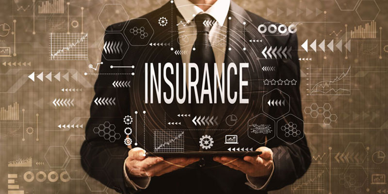 Start-up business employee with insurance sign